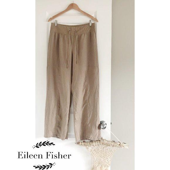Eileen Fisher Linen Pant Wide Leg Pull On